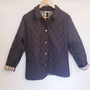 NWOT Burberry Brown Diamond Quilted Jacket, Sz S